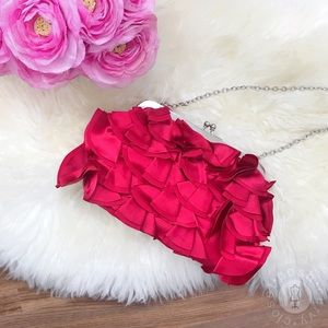 GLINT/NORDSTROM / Red Satin Ruffle Clutch